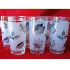 Both sets of our parents had these.  One set had a carrying/storage rack.  Libbey Juice Glasses Frosted Silver Leaf Set 6