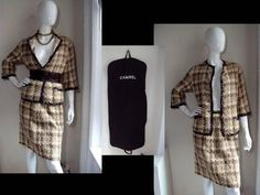 Chanel Numbered Haute Couture Vintage 1950's Tweed Jacket Blazer Skirt Suit 40 6 | eBay