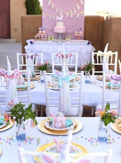 Fun Unicorn chairs for a birthday party!- See more Lovely Unicorn Party Ideas on B. Lovely Events