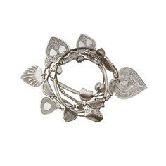 Semainier de bracelets ressort Coeurs Argent