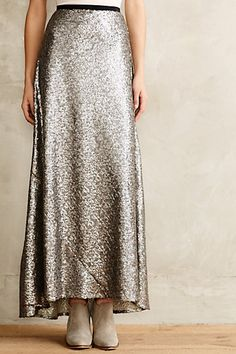 silver maxi skirt #anthrofave #fancydress