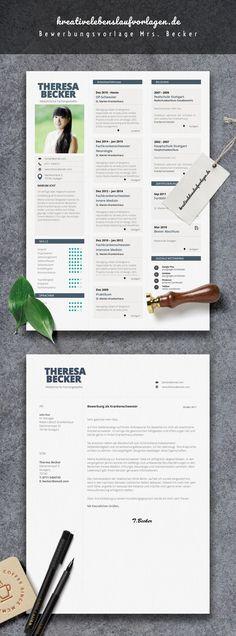 Kreativ, jung und hochwertig. Zeig deinem Lieblingsarbeitgeber, welches Potential in dir steckt. Grenz dich von der Konkurrenz ab, warte nicht – pack es selber an! Starte jetzt durch mit dem Bewerbungspaket von Mrs.Becker ! Das Bewerbungspaket enthält Anschreiben (Resume) und Lebenslauf (CV) im Corporate Design. Einfach die Datei in Microsoft Word öffnen und die Textfelder bearbeiten.