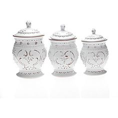 Black And White Kitchen Canister Sets | ... International Romanesque  3 Piece Canister