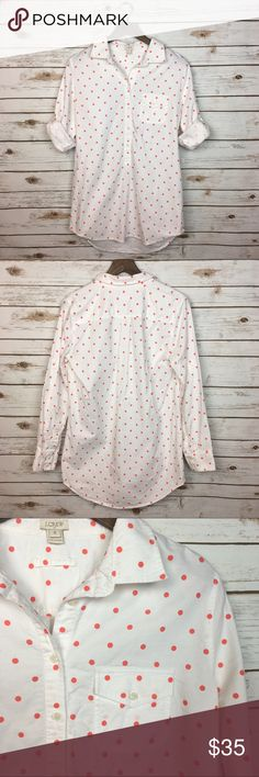 """[J. Crew Factory] Dotted Oxford Pocket Tunic Shirt Long sleeve popover tunic top from J. Crew factory. Coral polka dot pattern. Oversized fit. Hits at mid thigh. Button placket. Button pocket on left chest. Optional tab closures for sleeves. Retail $72.50.  🔹Fabric: 100% Cotton  🔹Bust: 21"""" 🔹Length: 32"""" 🔹Condition: EUC. No flaws.   Measurements taken while lying flat. J. Crew Tops Button Down Shirts"""