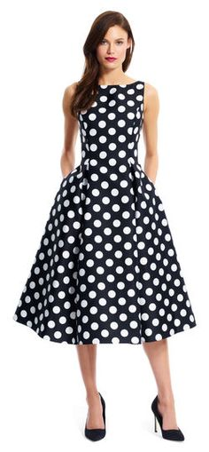 Adrianna Papell | Polka Dot Mikado Midi Dress | Classic and feminine, this stunning polka dot printed Mikado midi dress is an elegant choice for any special occasion.