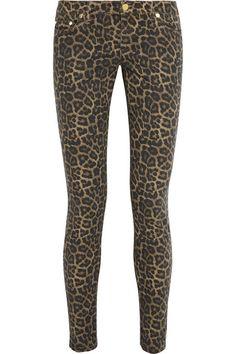 Michael Kors Jaguar-Print Low-Rise Skinny Jeans