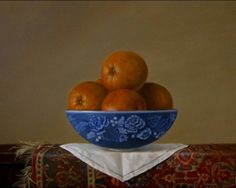 Oranges in Spode Bowl on Oriental Rug Classical Oil Painting, painting by artist JEANNE ILLENYE