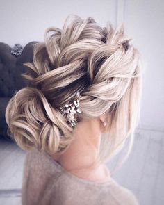 Finding just the right wedding hair for your wedding day is no small task but we're about to make things a little bit easier.From soft and romantic, to classic with modern twist these romantic wedding hairstyles with gorgeous details will inspire you,messy updo wedding hairstyle... #weddingdayhair