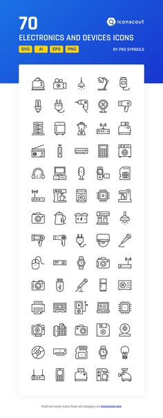 Electronics And Devices  Icon Pack - 70 Line Icons