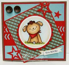 2 Cute Ink Digital Stamps Challenge Blog: First Challenge!!- cute card made by DT member Christy using Country Puppy Digital Stamp.