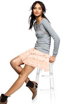Go for girly in a flippy little skirt. #VSTrendEdit