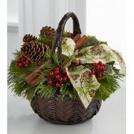 Preiosa canasta navideña con acebo, piñas y ramas de canela!