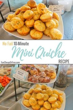 Easy no fail 10-minute mini quiche recipe that is PERFECT for parties, brunch, breakfast, showers, Mother's Day, or any special get together. Brunch Ideas For A Crowd, Make Ahead Brunch, Easy Brunch Recipes, Party Recipes, Brunch Bar, Brunch Drinks, Brunch Buffet, Brunch Food, Mini Quiches