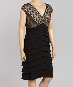 Take a look at this Black Lace Ruffle-Tier Sleeveless Dress - Plus on zulily today!