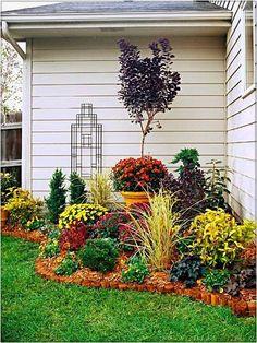 Small Corner Garden Design DIY, Do it yourself on a budget garden design in alongside backyard or home, best exterior home decorating, small flower garden #flowerbedgardening