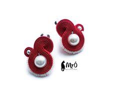 Clip en pendientes soutache roja y perla clip soutache