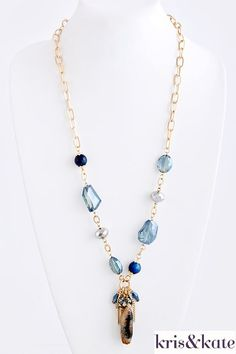 Stunning blue stone necklace for a gift for you or your BFF!  http://www.krisandkate.com/index.php/holiday-gift-guide.html