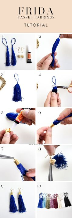 Our gyspy is showing after finding this DIY tassel earring tutorial from Honestl. Our gyspy is showing after finding this DIY tassel earring tutorial from HonestlyWTF. Diy Tassel Earrings, Tassel Earing, Tassel Jewelry, Beaded Earrings, Beaded Jewelry, Jewelery, Handmade Jewelry, Diy Necklace, Gold Jewelry