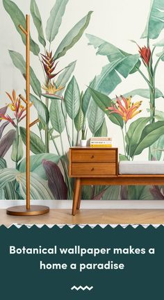 Welcome fresh tropicals into your space full of stylish tone and detail with this tropical oasis wallpaper. Accent Wallpaper, Interior Wallpaper, Green Wallpaper, Wall Wallpaper, Tropical Wallpaper, Botanical Wallpaper, Minimalist Wallpaper, Tropical Decor, Minimalist Interior