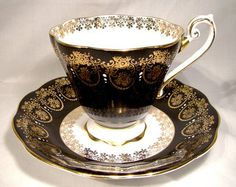 royal standard teacup with black gold and white designs - Google Search