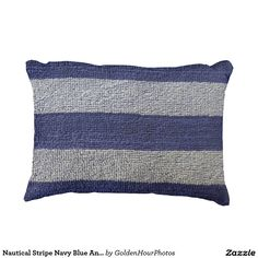 Nautical Stripe Navy Blue And Grey Accent Pillow $30.15