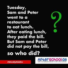 Tuesday, Sam and Peter #Riddles