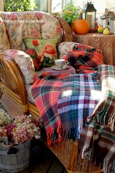 A Cosy Autumn Tea  this is a nice mix of autumn mixed with florals.... we MUST have blankies
