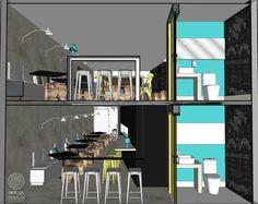 Bar Estilo Industrial | Térreo e mezanino do estabelecimento. Os banheiros possuem a porta e quase todas as paredes pintadas na cor azul. Há ainda um quadro negro onde os visitantes podem deixar recados.