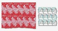 Dei uma busca na internet e fiz um apanhado com diversos pontos de crochet com gráficos. Infelizmente, não achei os autores, mas me parecem ...