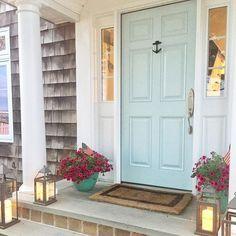 Front door paint color: Venetian Sky by Benjamin Moore