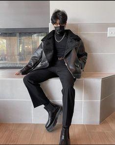 Punk Outfits, Grunge Outfits, Fashion Outfits, Korean Fashion Men, Korean Street Fashion, Aesthetic Fashion, Aesthetic Clothes, All Black Outfit, Streetwear Fashion