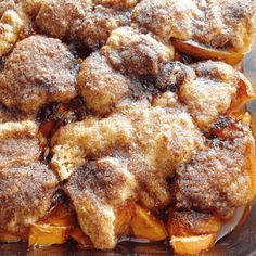 Southern Peach Cobbler with a flaky buttery cinnamon sugar crust! get the recipe at barefeetinthekitc. Just Desserts, Delicious Desserts, Dessert Recipes, Yummy Food, Fruit Recipes, Fun Easy Recipes, Easy Meals, Sweet Recipes, Sweets