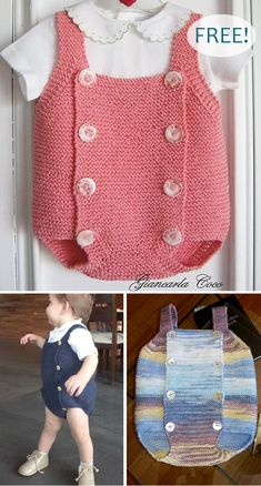 Free Knitting Pattern for Easy Baby Romper - Baby onesie with front bib with but. Free Knitting Pattern for Easy Baby Romper - Baby onesie with front bib with buttons along both sides knit in garter sti. Easy Baby Knitting Patterns, Baby Cardigan Knitting Pattern Free, Knitted Baby Cardigan, Knitted Baby Clothes, Knitting For Kids, Easy Knitting, Baby Knits, Baby Knitting Free, Free Baby Patterns
