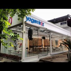 A new type of yogurt to hit Greece - Yogen Früz! Types Of Yogurt, Yogurt Smoothies, Frozen Yogurt, Greece, Shops, Outdoor Decor, Blog, Products, Tents
