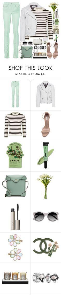 """Spring Trend: Colored Denim"" by martinabb ❤ liked on Polyvore featuring RED Valentino, Acne Studios, Theory, Schutz, Tony Moly, L.A. Girl, MANU Atelier, Ilia, Ace and Monsoon"