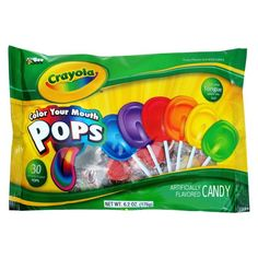 Crayola Color Your Mouth Lollipops Crayon Birthday Parties, Backyard Birthday Parties, Birthday Party Snacks, First Birthday Parties, Birthday Party Decorations, Rainbow Birthday, Party Favors, Birthday Ideas, Penguin Birthday