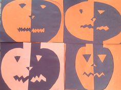 Positive / Negative Space Scary Pumpkin Paper cut outs By 3rd. & 4th. Graders 10/29/13