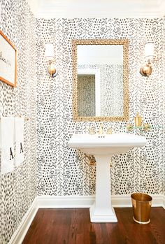 Website Photo Gallery Examples Pretty pretty pink bathroom by Lee Ann Thornton Love the graphic cherry blossom wallpaper the beautiful marble and the simple monogram on the towels so