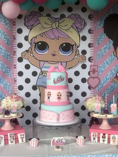 The birthday cake at this LOL Surprise Dolls Birthday Party is beautiful! See more party ideas and share yours at CatchMyParty.com #catchmyparty #partyideas #lolsurprisedollsbirthdayparty #lolsurprisedollsbirthdaycake
