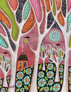 Brown Dog 11x14 Birds House ORIGINAL Canvas PAINTING Abstract FOLK ART Karla G..FOR SALE...