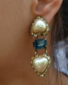 Spring Jewelry antique earrings two hearts by Limbhad on Etsy