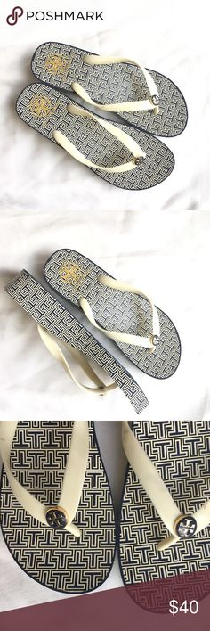 Tory Burch platform logo sandals flip flops thongs Tory Burch platform  wedge sandals flip flops thongs Excellent condition gently used See  pictures for ... 1121409173a8