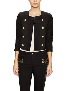 Double Breasted Pleated Front Jacket by Marchesa Voyage at Gilt