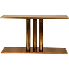 'calandre' Patinated Brass And Bronze Mirrored Console By Design... ($7,000) ❤ liked on Polyvore featuring home, furniture, tables, accent tables, brown, console tables, brass furniture, brass console table, mirrored table and mirrored glass table