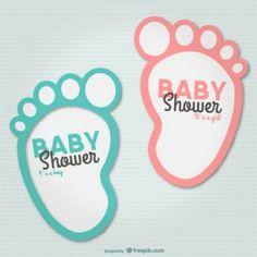 Baby voetjes op de uitnodiging van de babyshower! Leuk idee