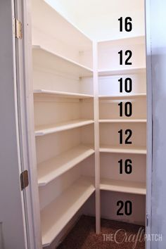How to Build Pantry Shelving How to build strong pantry or walk-in closet shelves. Tips for how far apart to space the shelves too. Floor to ceiling storage! - Own Kitchen Pantry Pantry Room, Pantry Storage, Kitchen Storage, Locker Storage, Pantry Shelves Diy, Pantry Diy, Small Pantry Closet, Build Shelves, Walk In Pantry