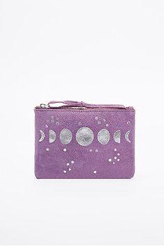 Ecote - Porte-monnaie en daim violet motif lunes