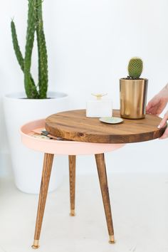 DIY // mid century end table with hidden storage