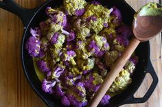 curried, roasted cauliflower.  I especially like the purple cauliflower!