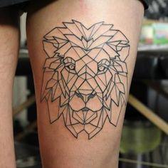 Geometric lion tattoo - geometric thigh tattoo on TattooChief.com